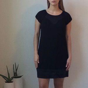 BCBGMaxAzria Black Silk Detail Cap Sleeve Dress S